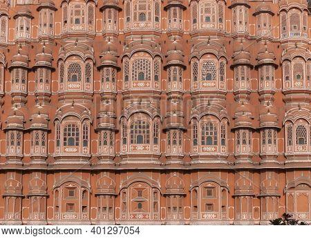 Close Up Of The Facade Of Hawa Mahal Palace In Jaipur