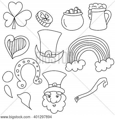 St Patrick's Day Attributes Doodles Set, Outline Drawings With Symbols Of Good Luck, Coloring Page F