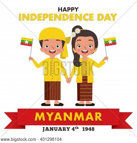 A Pair Of Myanmar Boy And Girl Are Celebrating Myanmar Independence Day While They Are Wearing Tradi