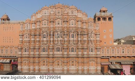 Jaipur, India - March 20, 2019: Afternoon Wide Angle View Of Hawa Mahal Palace In Jaipur
