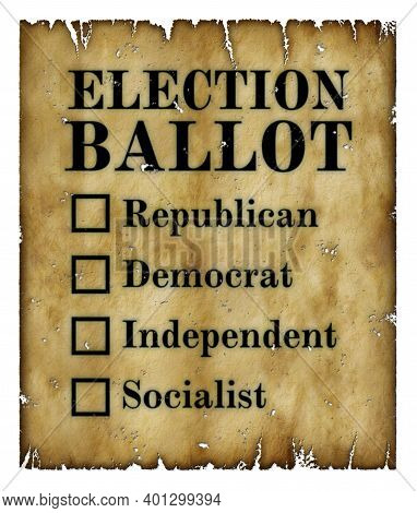 An Old Yellowed And Tattered Election Ballot With Check Boxes Next To Republican, Democrat, Independ