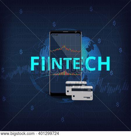 Financial Internet Technology Concept(fintech).mobile Phone Rendering Represent Financial Internet T