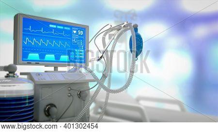 Icu Lung Ventilator In Clinic, Cg Medical 3d Illustration