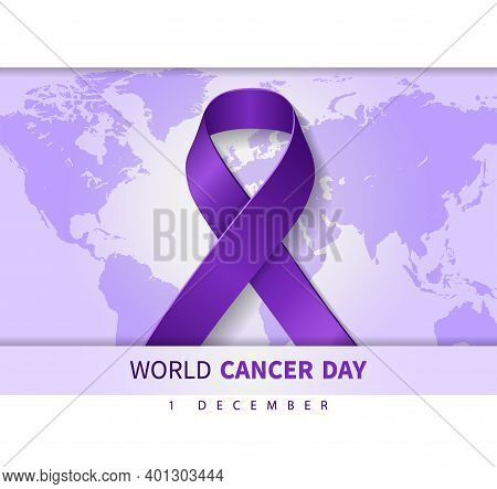 World Cancer Day Purple Background Illustration With Ribbon Symbol And Text On World Map. Vector Ill