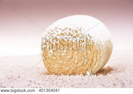 A Snow Covered Round Hay Bale On The Canadian Prairies In Rocky View County Alberta.