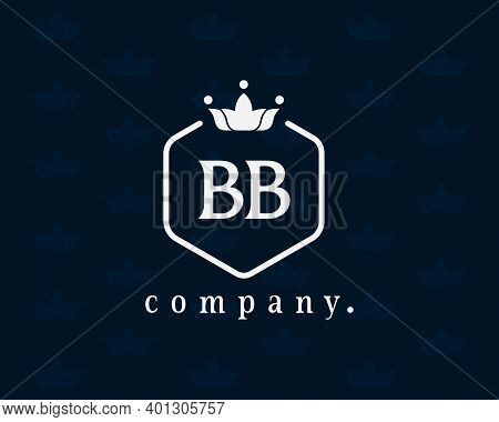 Letter Bb, B Luxury Royal Style Crown Monogram. Graceful Calligraphy And Hexagonal Template. The Vin
