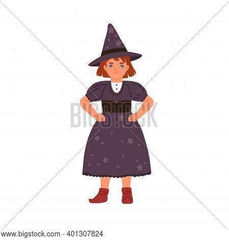 Funny Little Girl In Witch Costume Vector Flat Illustration. Cute Child Wizard Or Sorcerer Wearing D
