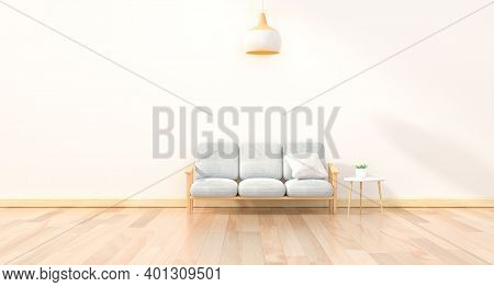 Minimal Interior Design Room With Sofa, Low Table, Decoration Plant And Japan Style Design Hanging L