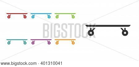 Black Longboard Or Skateboard Cruiser Icon Isolated On White Background. Extreme Sport. Sport Equipm
