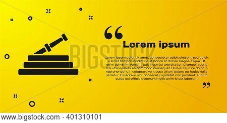 Black Garden Hose Or Fire Hose Icon Isolated On Yellow Background. Spray Gun Icon. Watering Equipmen