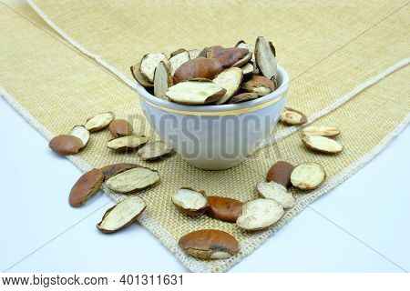 Organic Roasted Barking Deer's Mango Nuts Or Rvingia Malayana Is Thai Local Almond