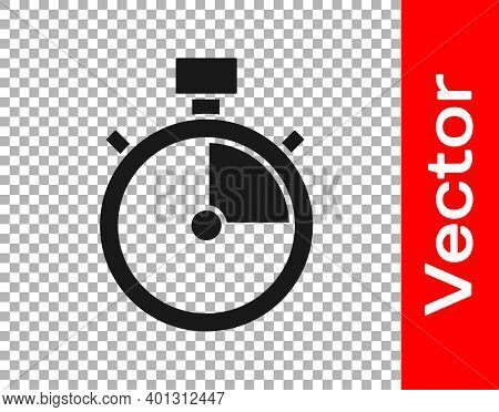 Black Stopwatch Icon Isolated On Transparent Background. Time Timer Sign. Chronometer Sign. Vector