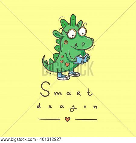 Card With  Cute Cartoon Smart Dragon. Funny Crocodile Print. Reading Reptile Poster. Vector Doodle L