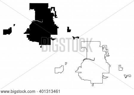 Lansing City, Michigan (united States Cities, United States Of America, Usa City) Map Vector Illustr