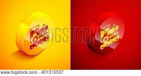Isometric Vintage Locomotive Icon Isolated On Orange And Red Background. Steam Locomotive. Circle Bu