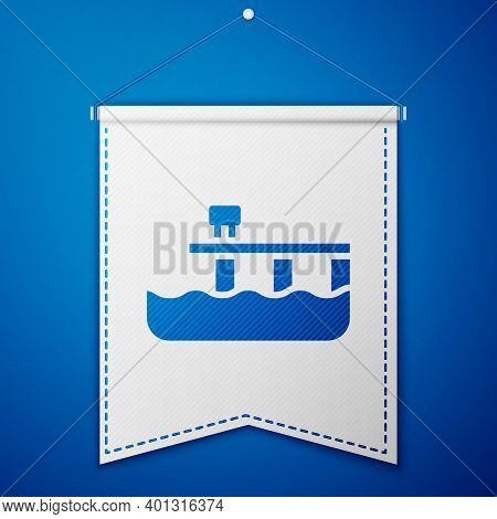 Blue Beach Pier Dock Icon Isolated On Blue Background. White Pennant Template. Vector