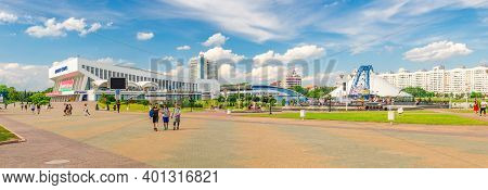 Minsk, Belarus, July 26, 2020: Panorama Of Minsk City With Square Near Minsk Sports Palace Building
