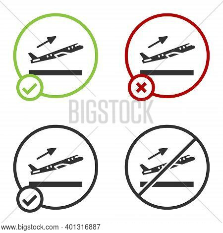 Black Plane Takeoff Icon Isolated On White Background. Airplane Transport Symbol. Circle Button. Vec