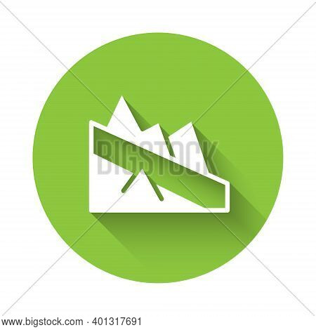 White Mountain Descent Icon Isolated With Long Shadow. Symbol Of Victory Or Success Concept. Green C