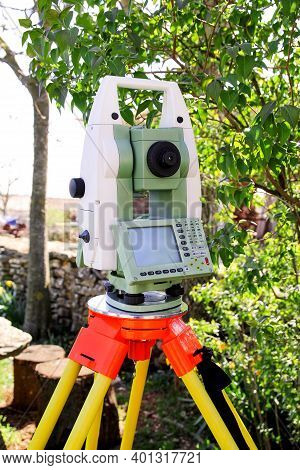 Total Station. Survey Instrument Geodetic Device, Total Station Set In The Field.