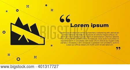 Black Mountain Descent Icon Isolated On Yellow Background. Symbol Of Victory Or Success Concept. Vec