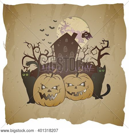 Vector Halloween Illustration With Grinning Pumpkins, Abandoned House And Ghost On Grunge Background