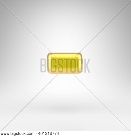 Minus Symbol On White Background. Yellow Car Paint 3d Rendered Sign With Glossy Metallic Surface.