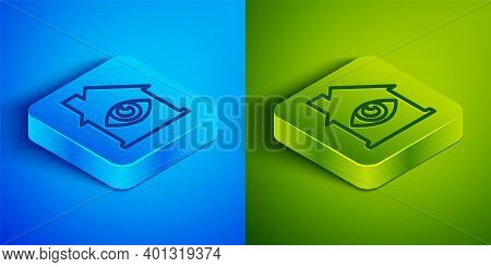 Isometric Line House With Eye Scan Icon Isolated On Blue And Green Background. Scanning Eye. Securit