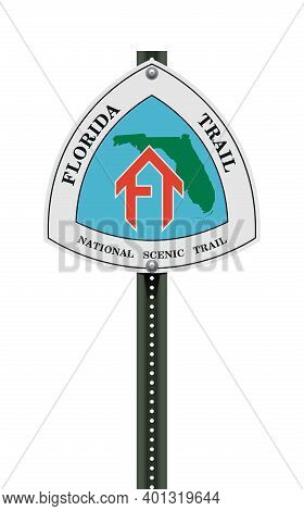Vector Illustration Of The Florida Trail Road Sign On Metallic Post