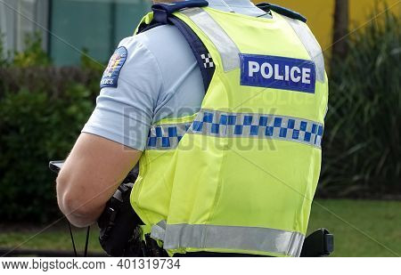 Auckland, New Zealand - December 24, 2020: Close Up Of A New Zealand Police Officer's Uniform And Ba