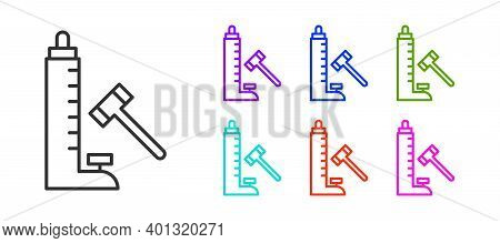 Black Line High Striker Attraction With Big Hammer Icon Isolated On White Background. Attraction For