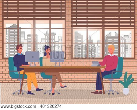 Teamwork. Business Meeting, Conference. Boss Talking With Workers. People Discussing Business Projec