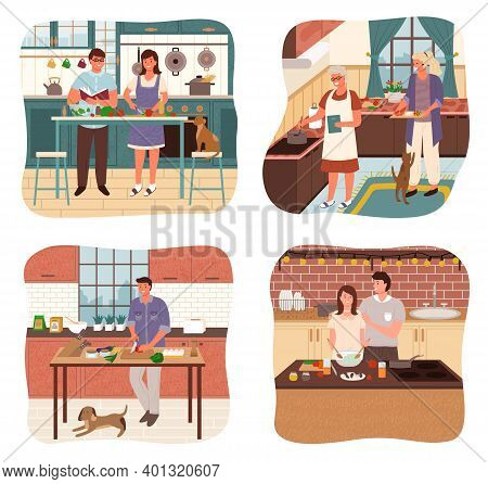 Collection Of People Cooking In Kitchen. Isolated Set Of Characters At Home Making Dishes. Old Lady