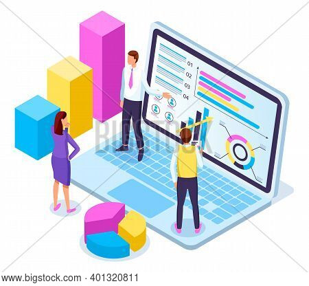 Isometric Laptop With Charts, Diagram, Infochart At Screen. 3d Growing Graphic, Sliced Diagram. Team