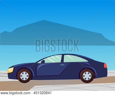 Traveling On Car Vector, Automobile Riding On Road By Seaside With Mountains Silhouette. Transportat