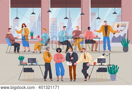 Teamwork Concept. Business People Working In Office. Business Meeting, Conference. People Discussing