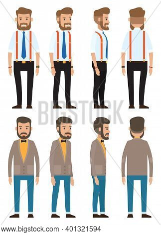 Stylish Businessman. Man In Fashionable Business Clothes Set. Cartoon Illustration Of A Handsome Bea