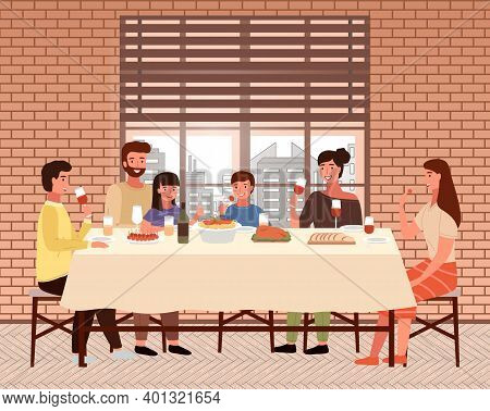 Family Dines With Food In Italian-style Restaurant. Relatives Eat Traditional Dishes In Cafe. Italia