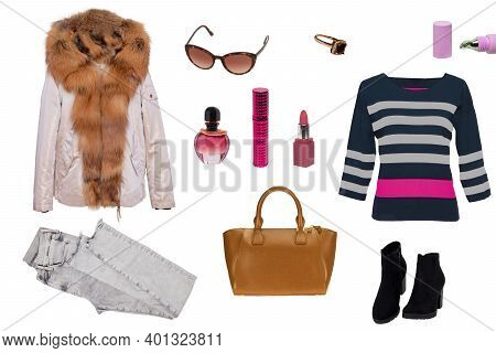 Collage Woman Clothes. Set Of Luxurious And Stylish Elegant Female Winter Jacket, A Sweater, A Handb