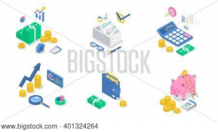 Accounting Isometric Color Vector Illustration Set. Financial Audit. Business Strategy. Salary Payme