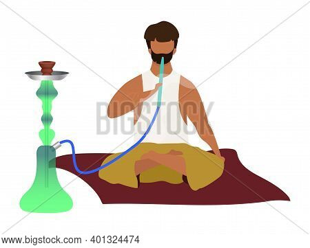 Arabic Man Sitting And Smoking Hookah Flat Color Vector Faceless Character. Eastern Traditional, Smo