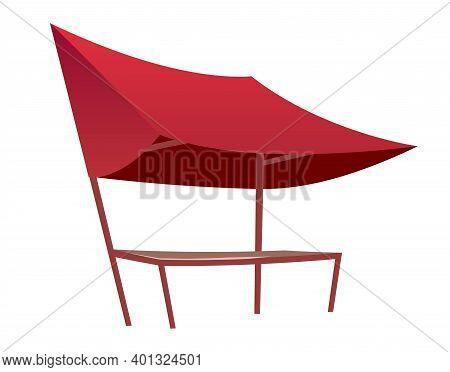 Eastern Bazaar Empty Red Tent Cartoon Vector Illustration. Blank Summer Fair, Marketplace Counter Wi