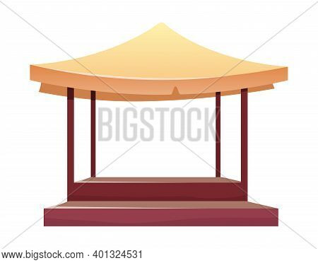 Eastern Bazaar Empty Tent Cartoon Vector Illustration. Blank Summer Fair, Marketplace Stall With Ten