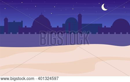 Desert Town Silhouette Night Scenery Flat Color Vector Background. Muslim Buildings And Sky With Moo
