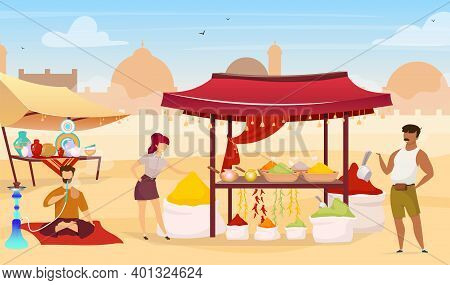 Turkish Bazaar Flat Color Vector Illustration. Arab Street Market. Egyptian Marketplace With Souveni