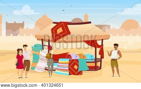 Tourists Choosing Persian Rugs Flat Vector Illustration. Eastern Outdoor Market. Trade Awning With C