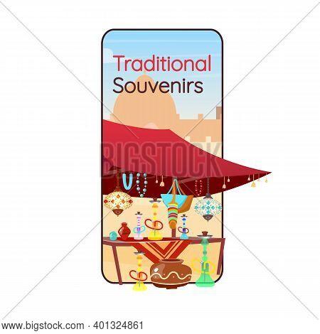 Egyptian Traditional Souvenirs Cartoon Smartphone Vector App Screen. Arabic Bazaar. Mobile Phone Dis