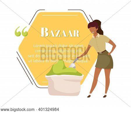 Indian Bazaar Buyer Flat Color Vector Character Quote. Exotic Advertising. Eastern Fair, Market. Cit