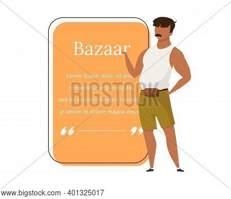Bazaar Seller Flat Color Vector Character Quote. Street Market, Fair Vendor Advertising. Asian Marke
