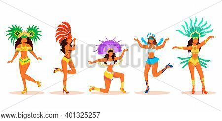 Brazil Carnival Dancers Flat Color Vector Faceless Characters Set. Latino Ladies In Carnival Costume